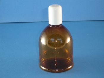 Amber Round Shoulder Plastic Bottle and White Closure 300ml (SO002)