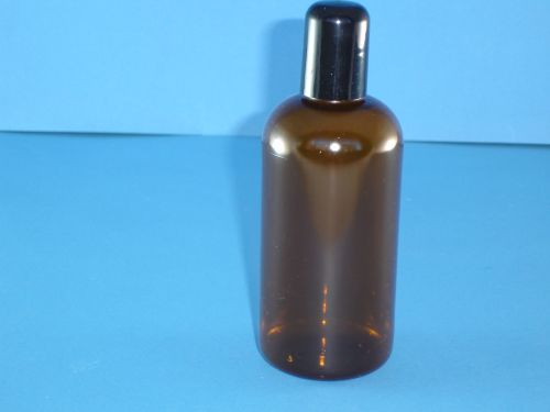 Amber Boston Round Bottle and Black Closure 250ml