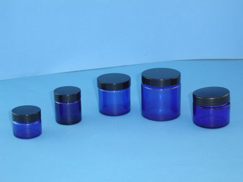Blue (Coated) Glass Jar/Black Closure 60ml