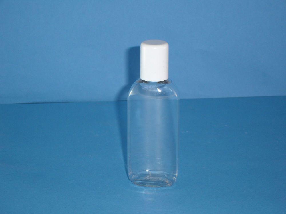 Clear Plastic Oval Bottle White Lid 75ml (S)007)