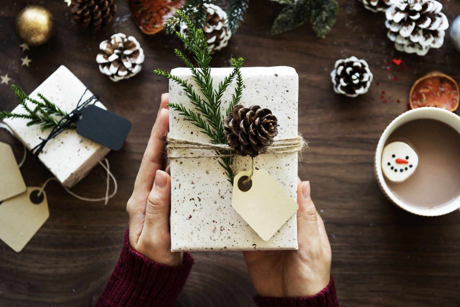 negative-space-christmas-parcel-white-wrapping-paper-pine-cone-coffee-rawpi