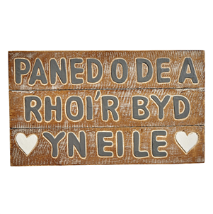 welsh carved tea sign