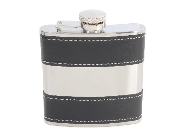 Leather striped hip flask
