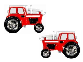 Tractor Cufflinks - Red