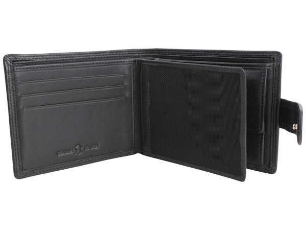 Black Leather Wallet with RFID Lining
