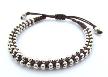Brown Leather and Silver Bracelet