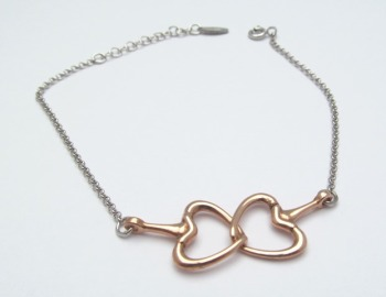 Rose Gold Interlocking Heart Bracelet