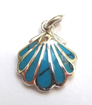 Small Silver and Turquoise Shell Pendant