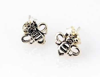 Silver Bumble Bee Earrings