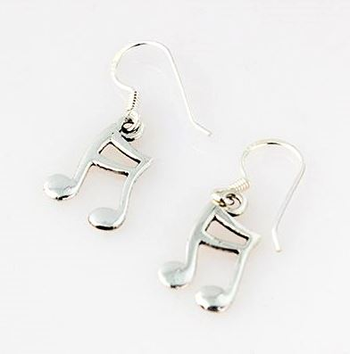 Silver Musical Note Earrings
