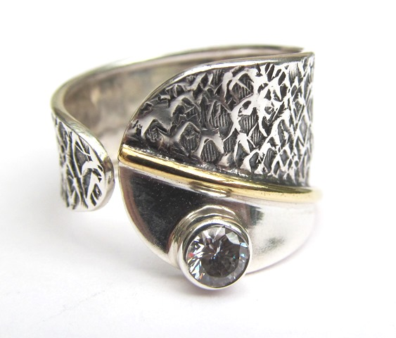 Silver wrap ring with CZ