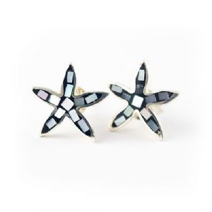 Silver Black Mosaic Starfish Earrings