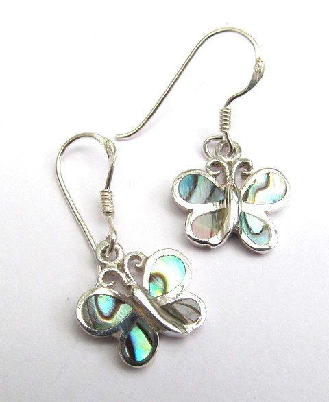 Silver Abalone Butterfly Earrings