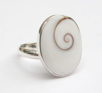 Silver White Shiva Shell Ring