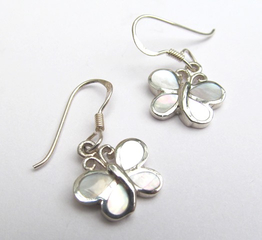 Silver Mother of Pearl Butterfly Earrings