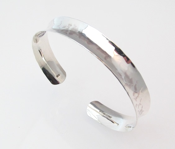 Silver Hammered Open Bangle