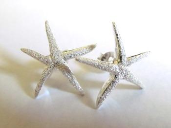 Silver Glitter Starfish Earrings