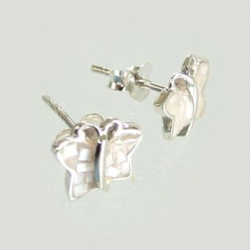Silver Mother of Pearl Stud Butterfly Earrings