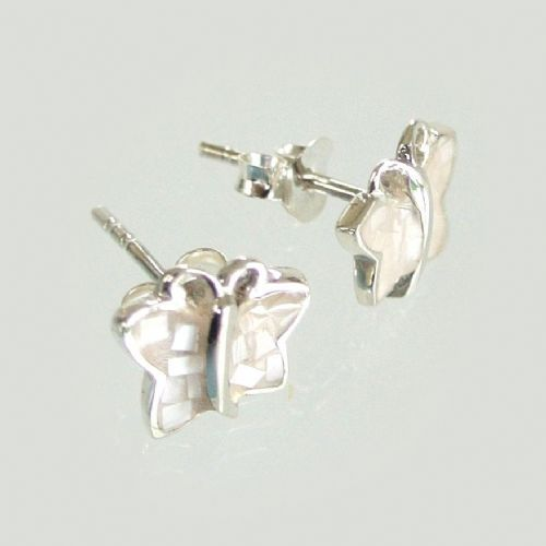 Silver Mother of Pearl Stud Butterfly Earrings