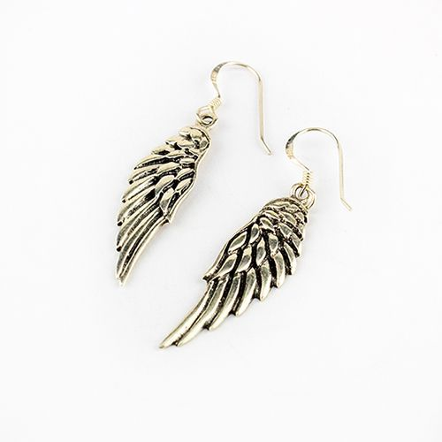 Silver Solid Angel Wing Earrings