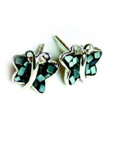 Silver Black Mosaic Stud Butterfly Earrings