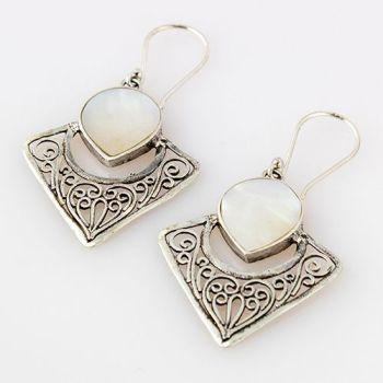 Silver Filigree Mother of Pearl Earrings
