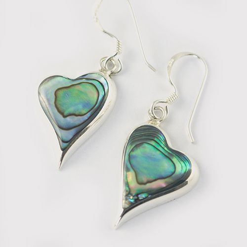 Silver Abalone Heart Earrings