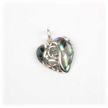 Silver Abalone Heart Pendant