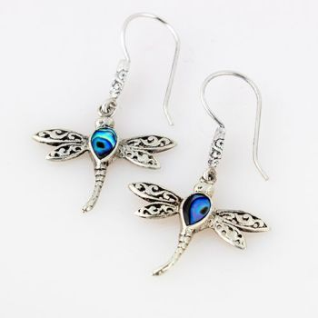 Silver Abalone Dragonfly Earrings