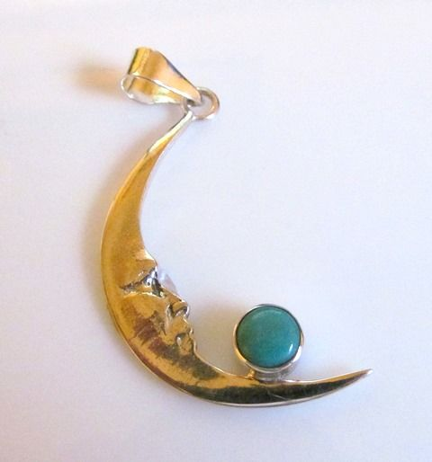 Sterling Silver Moon Pendant with Turquoise