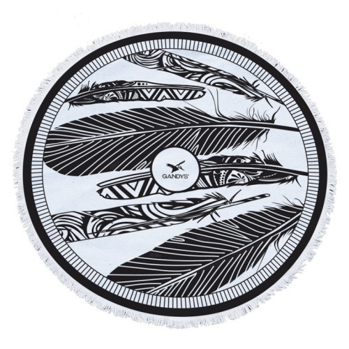 Round Beach Towel - Feather Print