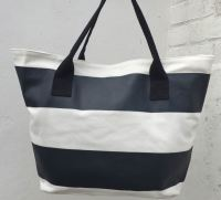 Cotton Beach Tote - Bold Black Stripe