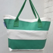 Green & White Stripe - Beach Tote - by Beach Bunnies