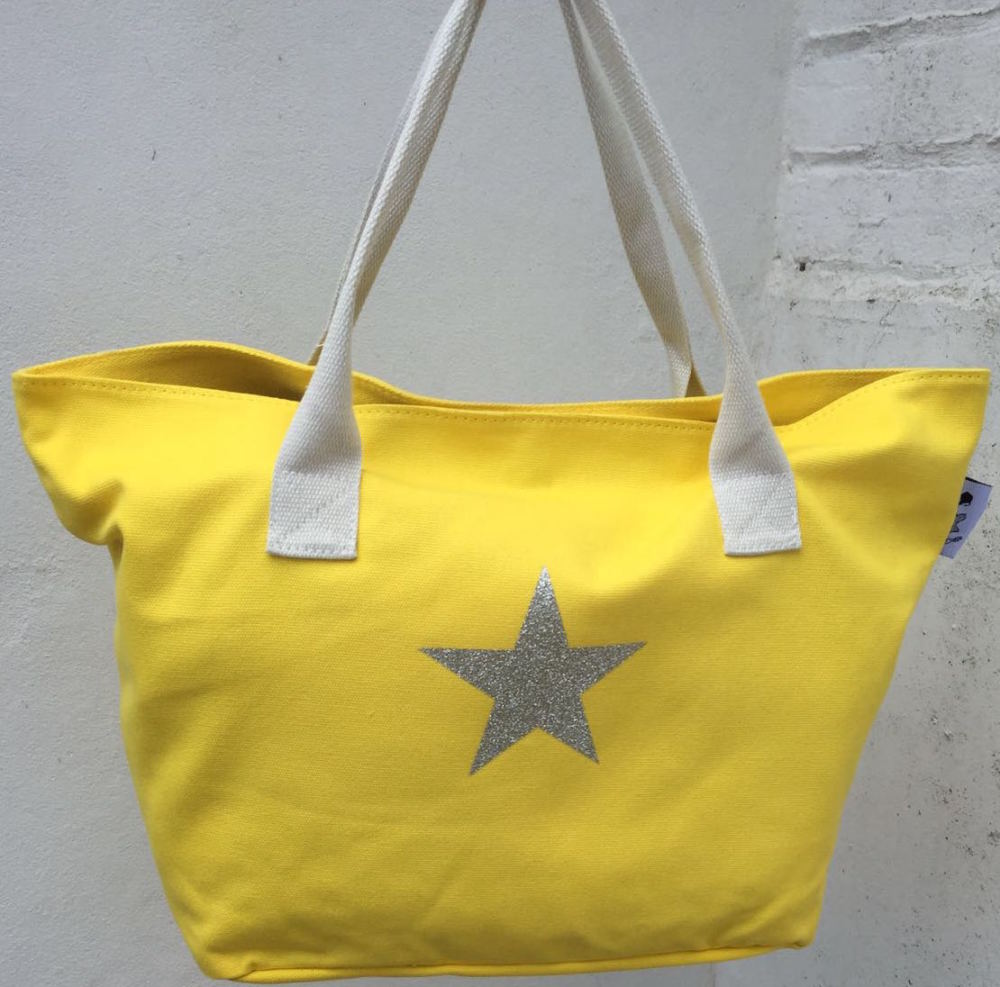 Yellow Beach Tote & Silver Star Detail