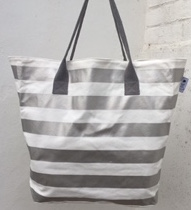 Beach Tote - White & Sliver Stripes
