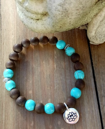 Bracelet - Marari - Wood & Turquoise