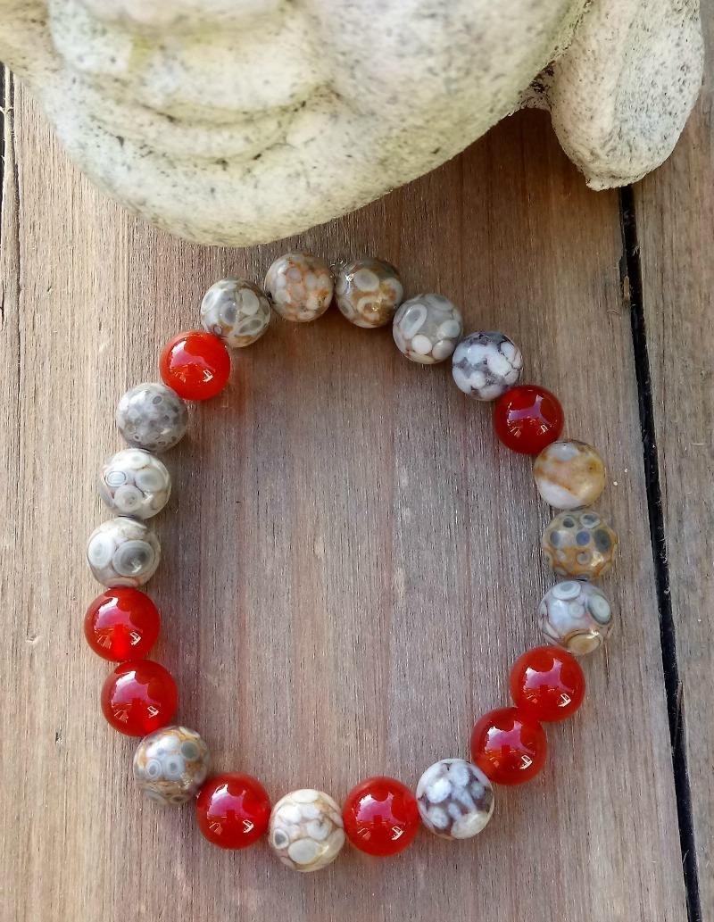 Talasari - Stretch Bracelet - Red Carnelian & Jasper