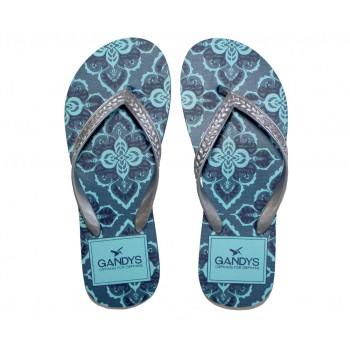 Gandys Flip Flops - Teal Floral Print