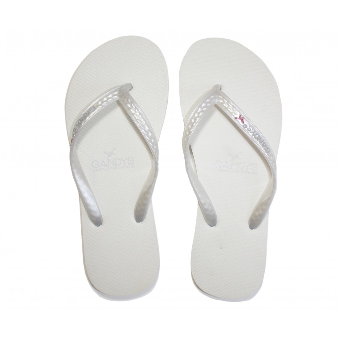 Gandys Flip Flops - White Metallic