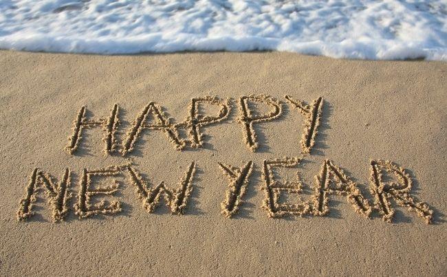 happy new year beach