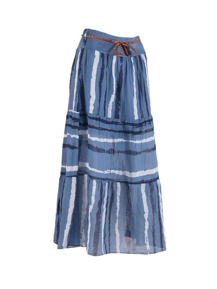 Blue Cotton, Striped Boho Skirt - Denim Blue
