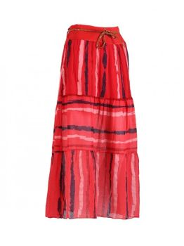 Long Cotton Skirt - Red
