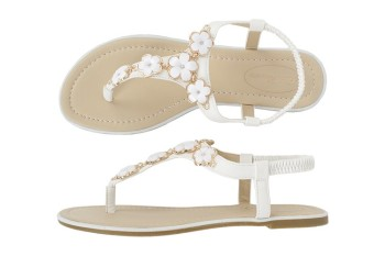 Ladies Sandal - White - Floral Detail