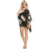 Beach Cover Up - black with floral print.