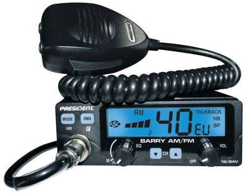 PRESIDENT BARRY AM/FM MOBILE CB RADIO 12/24V