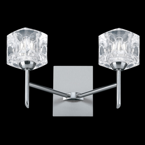 Ice Cube Twin Wall light Satin Silver 4342-2