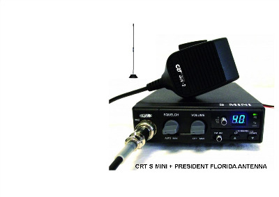 CRT S-MINI CB MULTI-STANDARD MOBILE RADIO PLUS PRESIDENT FLORIDA ANTENNA