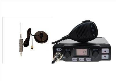 K-PO K-500 CB MOBILE RADIO INCLUDING CHROME MINI-SPRINGER ANTENNA AND MAG-M