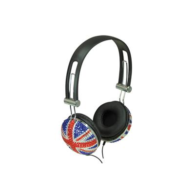Bling Union Jack design Headphone