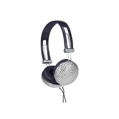 Stereo Headphones Silver Crystal Effect